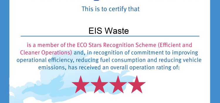 EIS WASTE RECEIVES 4* ECO STARS ACCREDITATION
